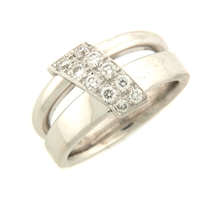Shown here in 14K White Gold, this Fashion Ring contains 0.43 ct. of Diamonds.