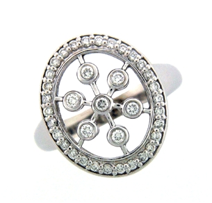 Shown here in 14K White Gold, this Fashion Ring contains 0.48 ct. of Diamonds.