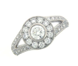 Shown here in Platinum, this Fashion Ring contains 1.16 ct. of Diamonds.