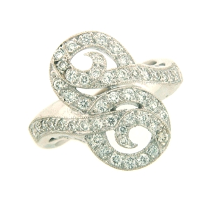 Shown here in 14K White Gold, this Fashion Ring contains 0.63 ct. of Diamonds.