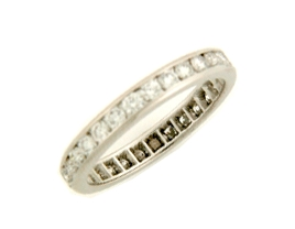 Shown here in 14K White Gold, this Wedding Band contains 0.88 ct. of Diamonds.